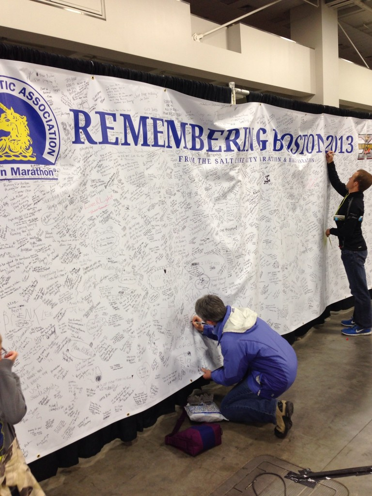 Signing the race banner that will be sent to the Boston Athletic Association