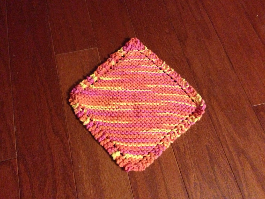 Hand-knitted dishcloth